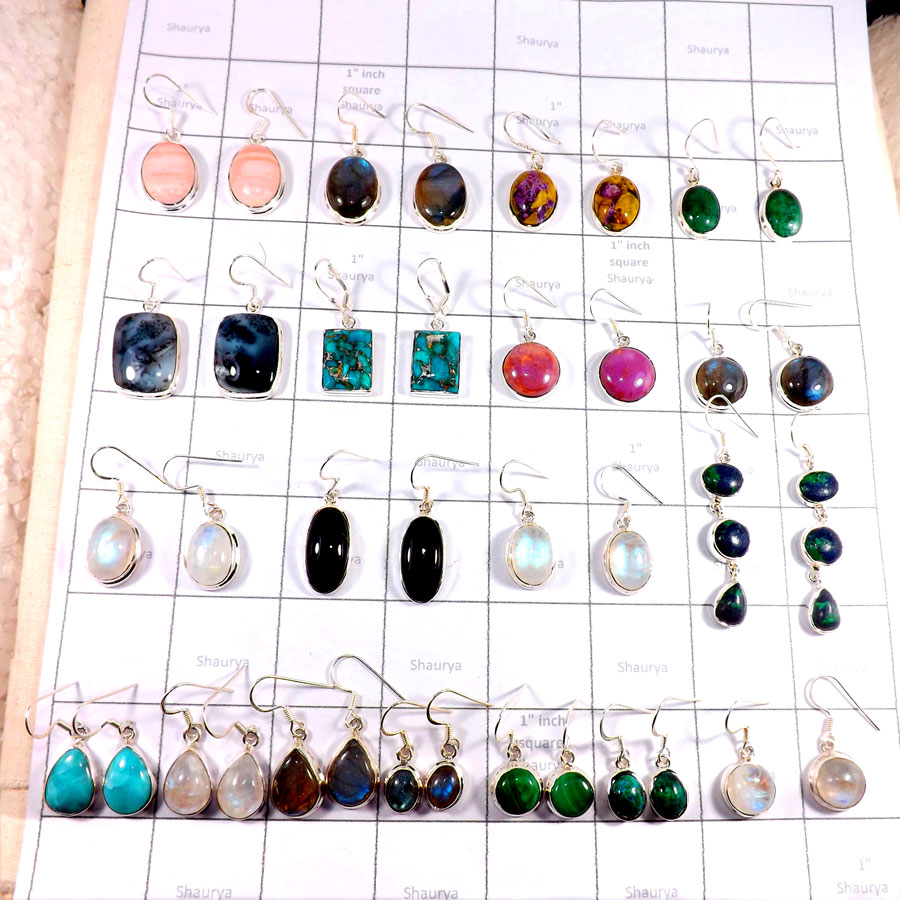 CBP999-20 Pairs Earrings Semiprecious Mix Cabochon 925 Sterling Silver Wholesale Lot