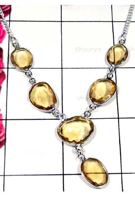 Citrine Bejal cut stone Necklace-IBN001A