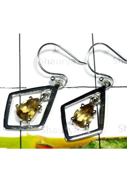 Sterling Silver Cut Citrine Earring-ICE001