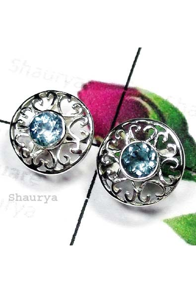 Cut Blue Topaz Precious Earring-ICE006