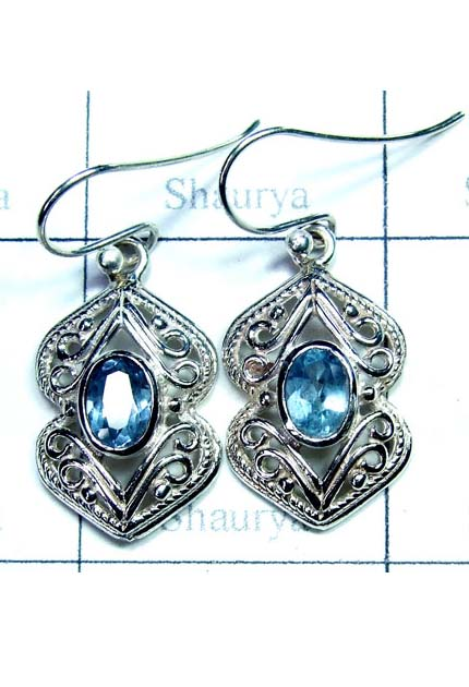 Blue Topaz Sterling Silver Earring-ICE008