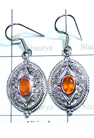 Carnelian Cut Casting Royal Earring-ICE009