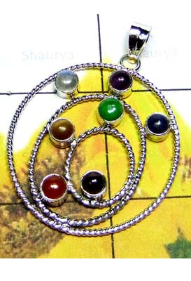 Cabochon gemstone with Checkra Pendant-ICHP005A