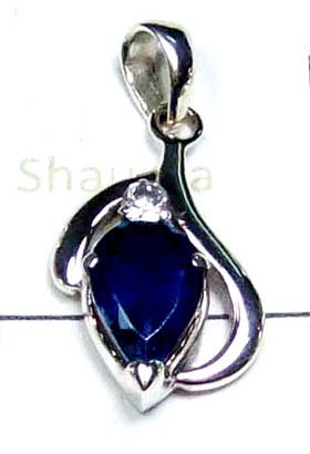 925 Sterling silver Iolite faceted Pendant-ICP019