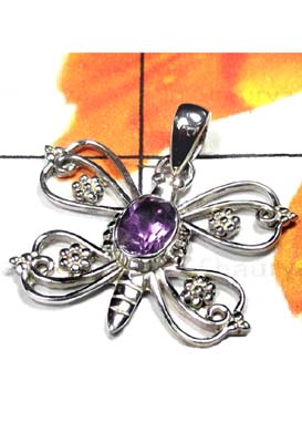 Sterling silver Butterfly Amethyst Pendant-ICP023
