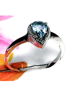 Sterling silver Blue Topaz Casting Ring-ICR030