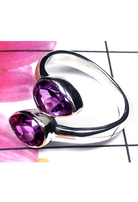 Dynamical silver gems Amethyst Ring-ICR033