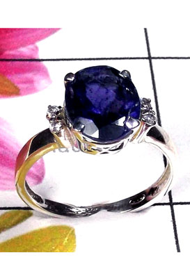 Unique Designer silver with Iolite gems Ring-ICR039