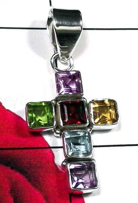 Beautiful silver with multigems cross Pendant-ICRP006