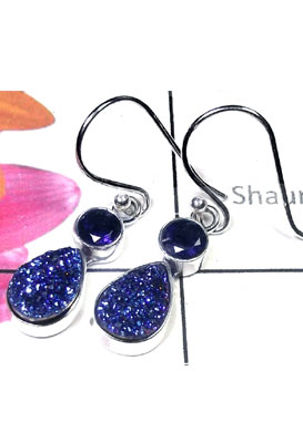 Flat Drusy with Iolite silver Earring-IDE022