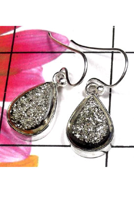 Sterling silver with Titanium window Drusy Earring-IDE026