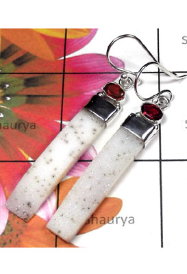 Natural white Drusy silver Earring-IDE030