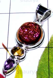 Sterling silver color window Drusy Pendant-IDP011B
