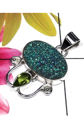 Exclusive flat Drusy silver Pendant-IDP019