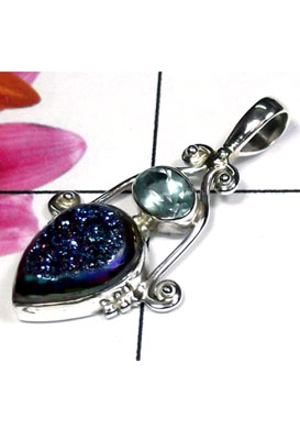 925 Sterling silver Drusy Pendant-IDP022