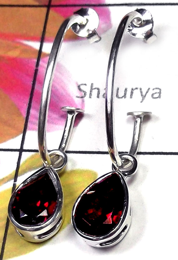 925 silver with Garnet faceted Earring-IGE008