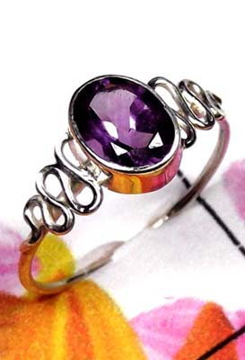 925 Sterling silver Low cost Amethyst Ring-ILR043