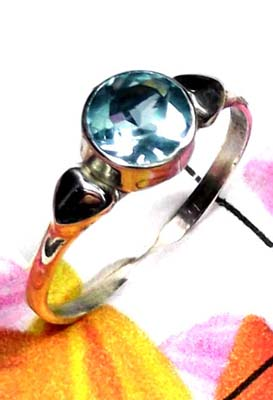 Low cost Blue Topaz silver Ring-ILR044