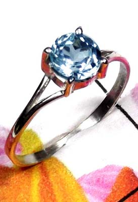 Prong setting Blue Topaz silver Ring-ILR045