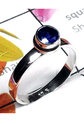 Low cost silver gems Iolite Ring-ILR047