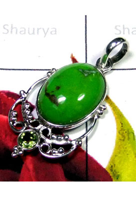 Silver Green Turquoise Bejal Pendant-IP034