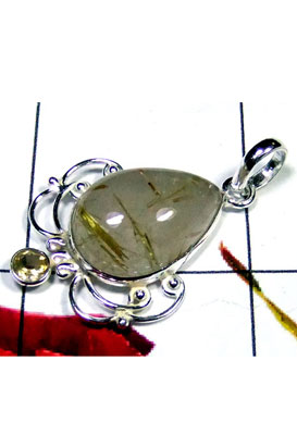Rutile with 925 silver Bejal Pendant-IP035