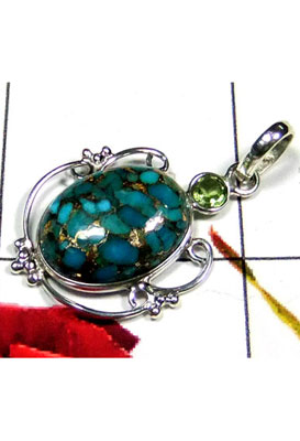 Blue copper Turquoise Bejal Pendant-IP036A