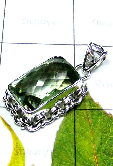 Creative Design Green Amethyst Silver Pendant-IP074