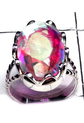 Sterling silver Rainbow Mystic Ring-IR005