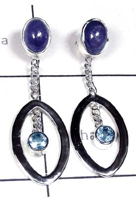 Tanzanite with Blue Topaz silver Earring