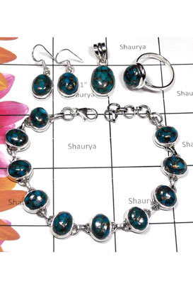 Elegant silver Blue copper Turquoise set-ISET001