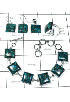 Wholesale silver square gems Blue copper Turquoise Set-ISET003