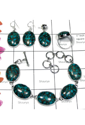Sterling silver Blue copper Turquoise Set-ISET004