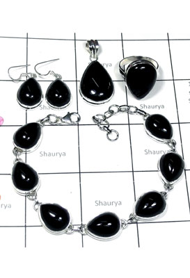 Wholesale silver with Black onyx Set-ISET005