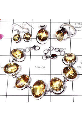 Faceted Citrine gems silver Set-ISET008