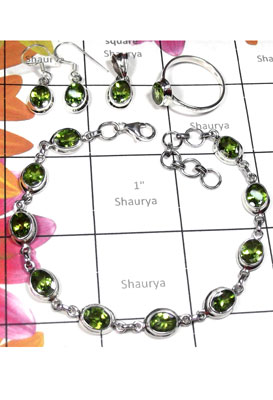 Evergreen Peridot gems silver Set-ISET018