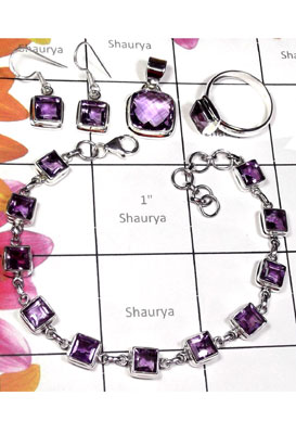 Wholesale silver Amethyst cut Set-ISET019