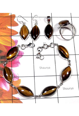 Tiger eye gems marquis silver Set-ISET035