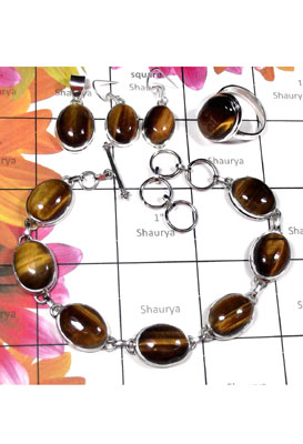 Wholesale sterling silver Tiger eye set-ISET036