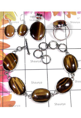 Semiprecious Tiger eye gems silver Set-ISET037