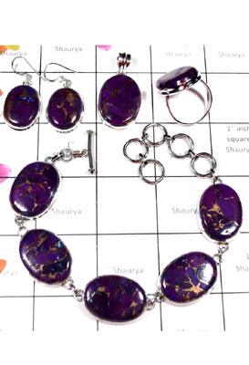 Purple copper Turquoise silver gems Set-ISET038