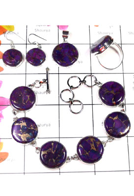 Purple copper Turquoise wholesale jewelry Set-ISET039