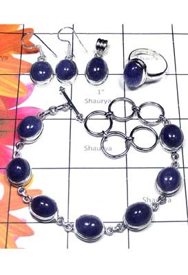 925 Sterling silver Tanzanite jewelry Set-ISET057