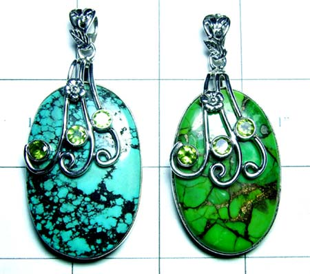 Copper Green Turquoise, Turquoise, Peridot Pendants- JRJCHP180
