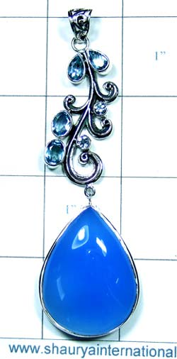 Chalcedony and Blue Topaz Pendant- JRJCHP187