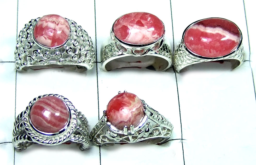 Wholesale silver Rodochrosite Ring Value Pack-JVR001