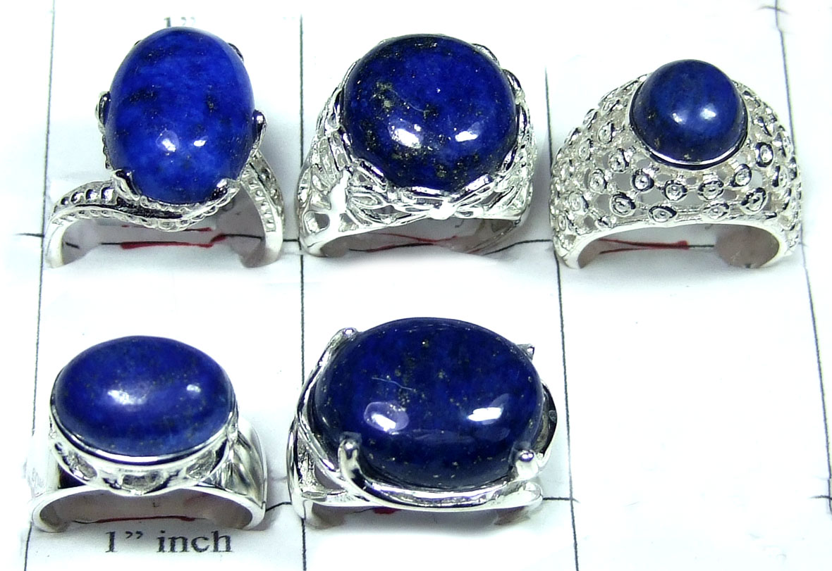 Sterling silver Blue Lapis Ring Value Pack-JVR004