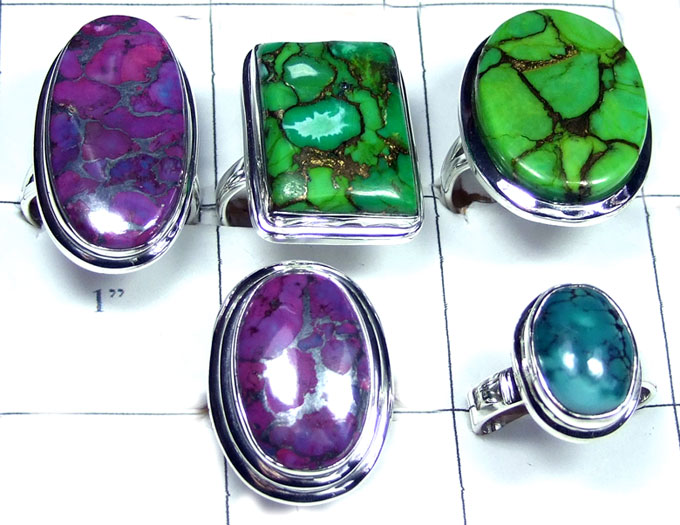 Silver Turquoise gemstone collection Rings-JVR020