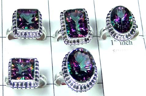 92.5 Sterling silver Mystic Quartz Rings Value Pack-JVR030