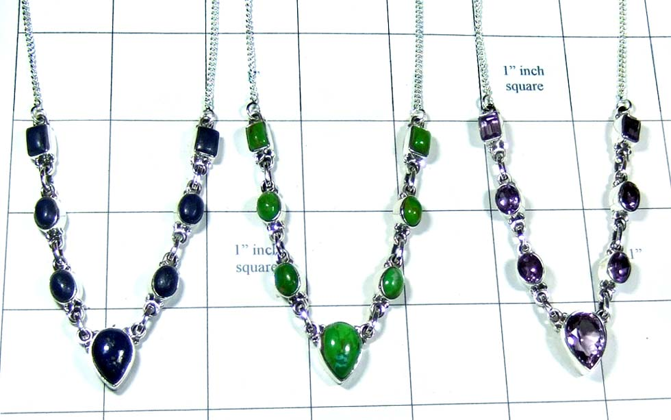 Sterling silver gems Necklaces-jyn022